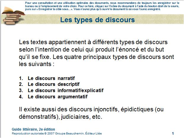typesdediscours